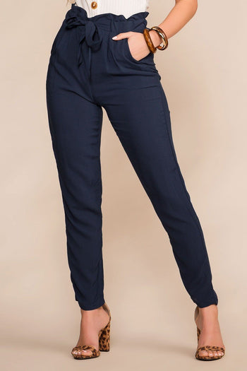 Priceless | Navy | Paperbag Pants | Tie-front Pants | Womens