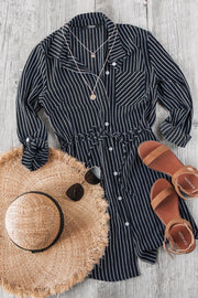 Do It Yourself Black Stripe Button Up Dress