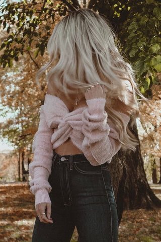 Lilah Rust Fuzzy Twist Sweater