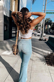 Live Free Light Wash Denim Bell Bottom Pants