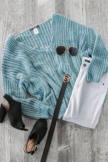 Feeling Good Sage Oversize Knit Sweater | Miracle Sweater