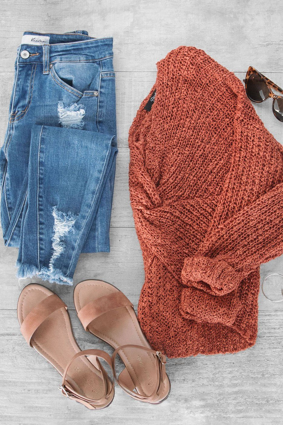 Flashback Rust Twist Back Knit Sweater | Trend Notes