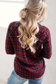 Impulsive Burgundy Plaid Top
