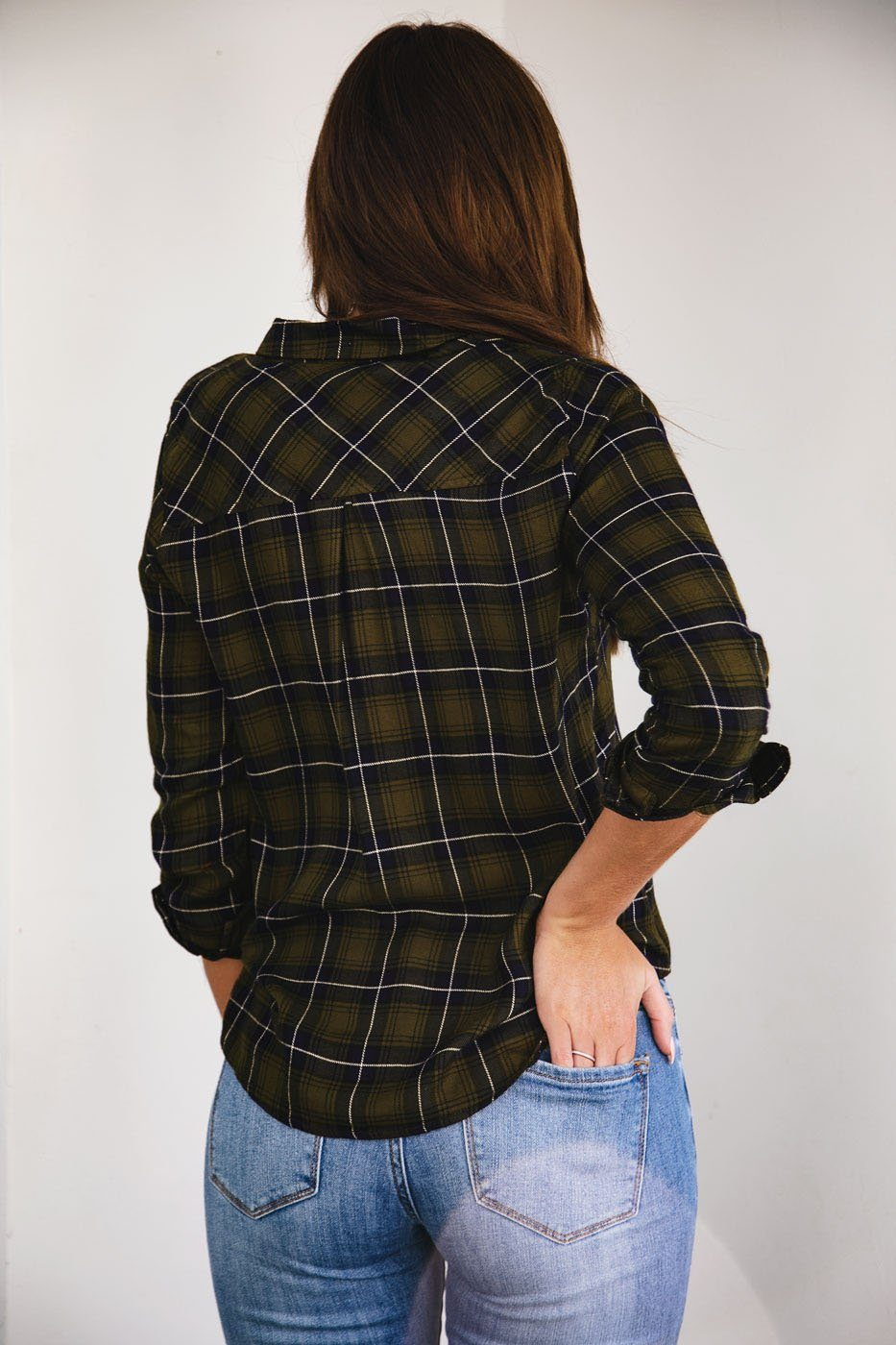 Impulsive Olive Plaid Top
