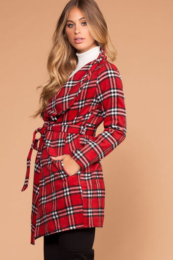 In Charge Red Plaid Wrap Coat | Active Basic