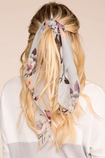 In Paris Grey Floral Hair Tie | Shop Priceless