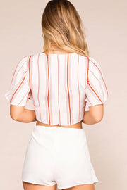 Coral Striped Tie-Front Crop Top