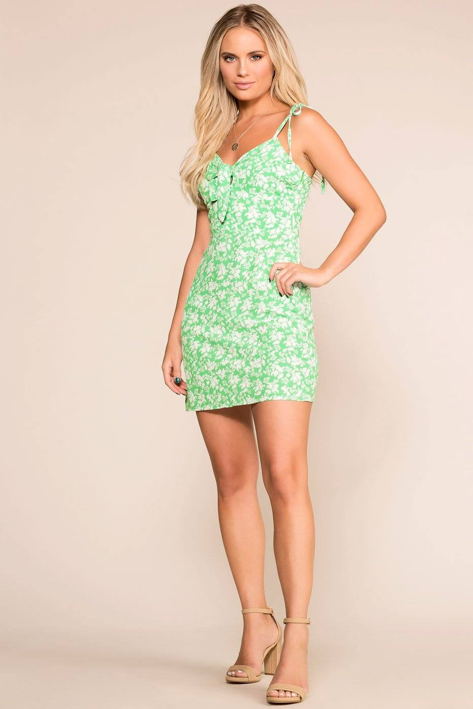 In The Garden Green Floral Sun Dress | Cotton Candy LA