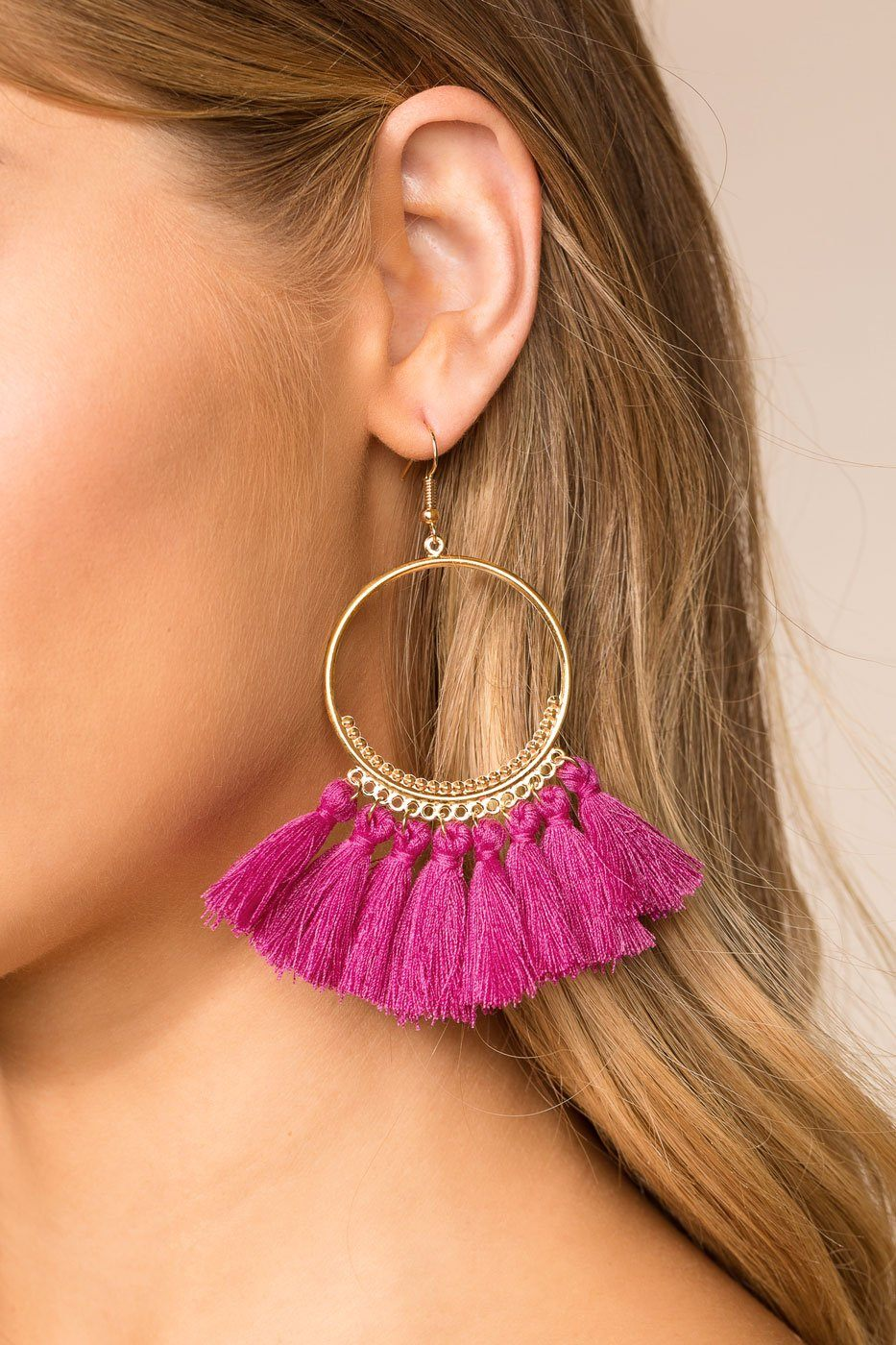 d8d899763ee In The Loop Fuchsia Tassel Earrings