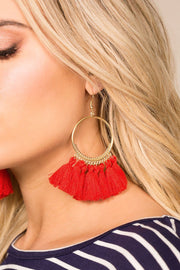 Priceless | Red | Tassel Earrings | Accessories