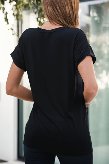 Black Loose V-Neck Pocket Tee