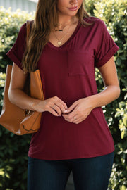 Burgundy Loose V-Neck Tee