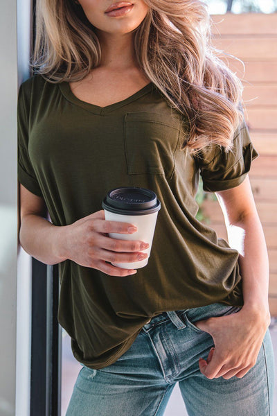 In The Middle Olive Loose V-Neck Tee