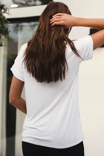 White Loose V-Neck Tee