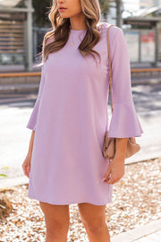 Lilac Flare Sleeve Shift Dress