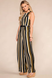 Black and Yellow Striped Jumpsuit