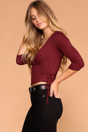 Burgundy Cross Over Tie Front Wrap Top