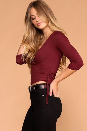 Burgundy | Tie Front Top | Wrap Top | Womens | Priceless