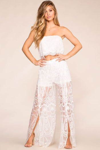 Boho White Lace Bandeau Crop Top