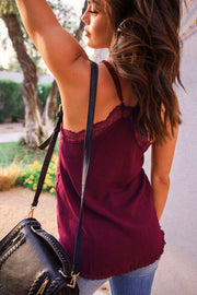 Burgundy Satin Lace Cami
