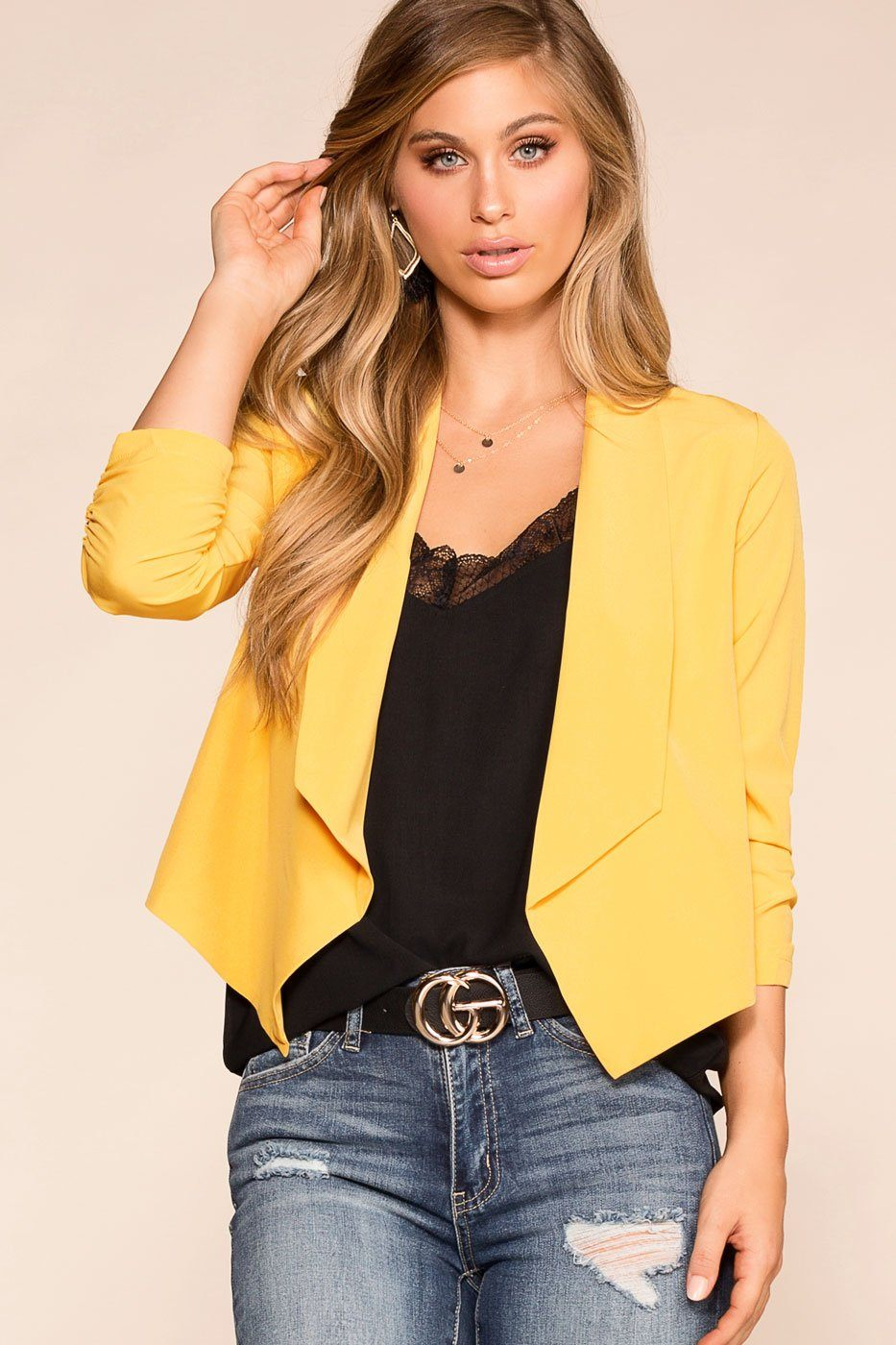 3967050588 Mustard Fitted Blazer Mustard Fitted Blazer ...
