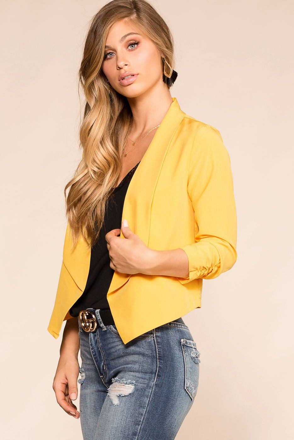 Mustard Fitted Blazer