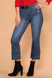 Distressed Flare Denim Jeans