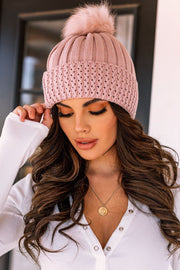 It's The Little Things Mauve Knit Beanie