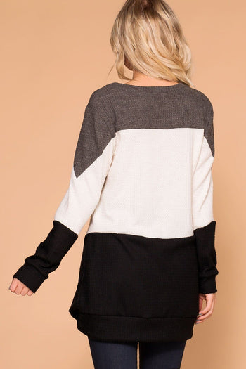Priceless | Charcoal Color Block | Thermal Top | Womens