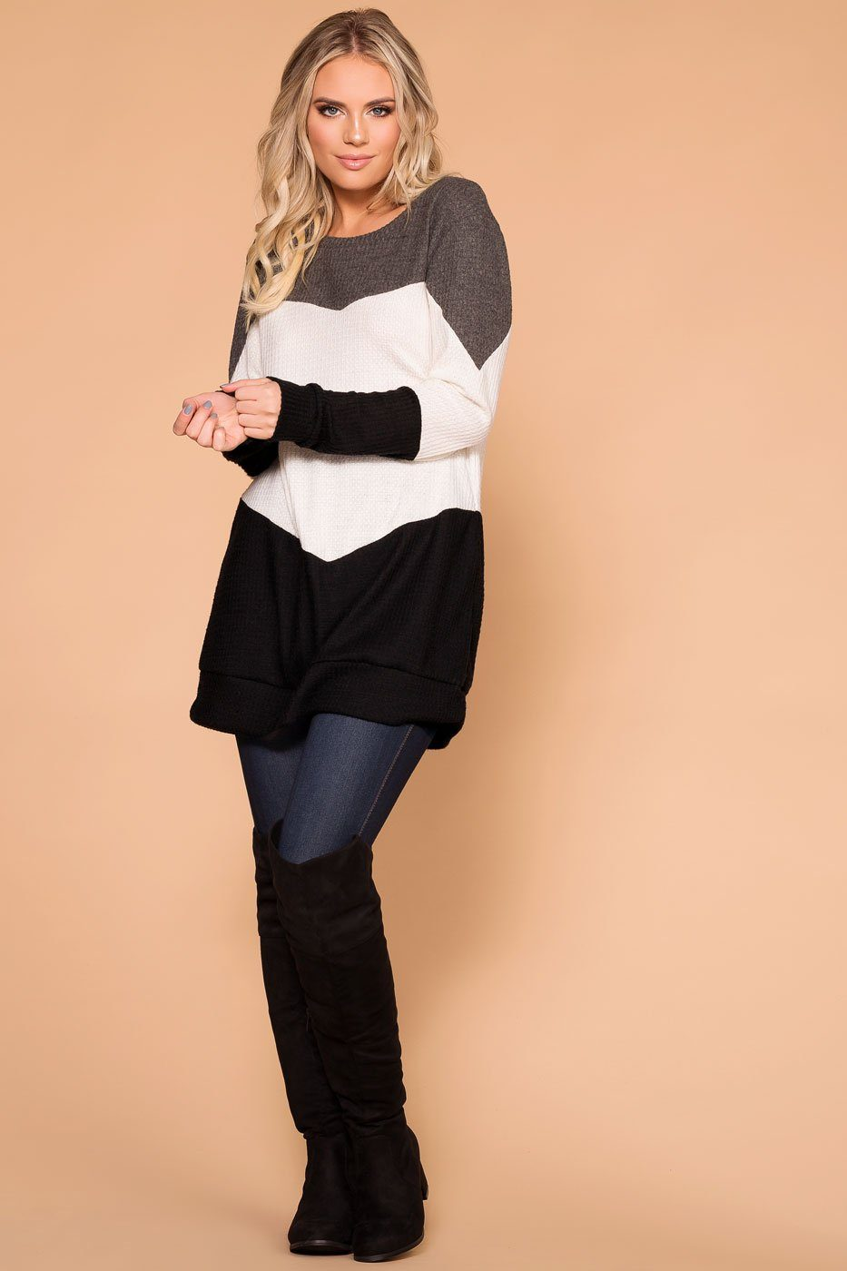Charcoal Color Block Thermal Top