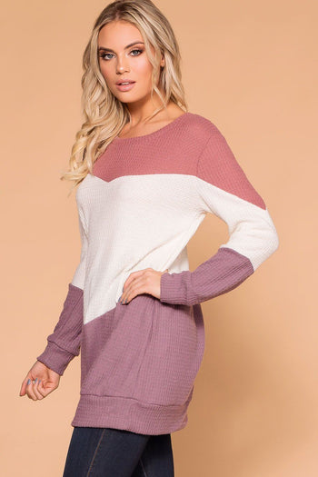 Priceless | Mauve Color Block | Thermal Top | Womens