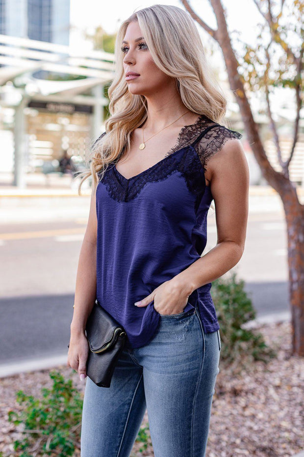 Navy Satin Lace Cami