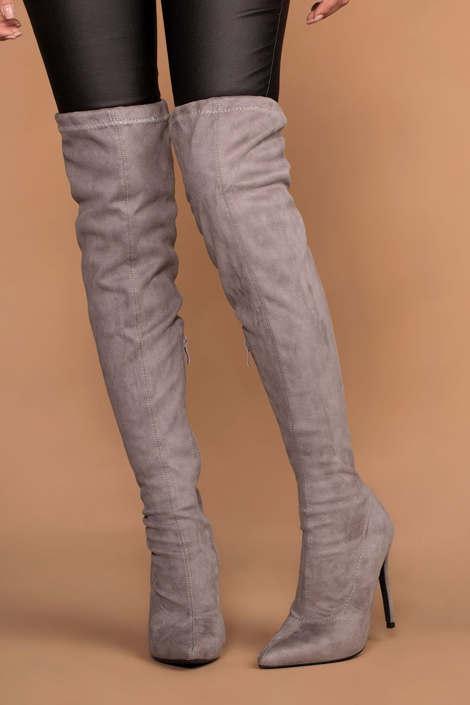 477f6e59e6c ... Jackie Grey Suede Over the Knee Boots