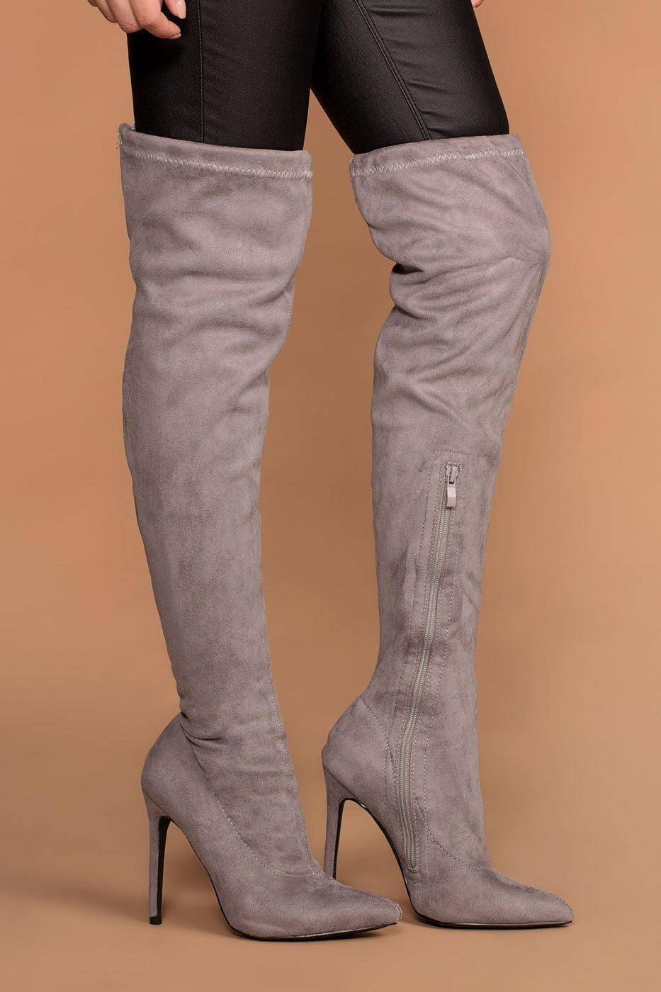 Jackie Grey Suede Over the Knee Boots | Shop Priceless