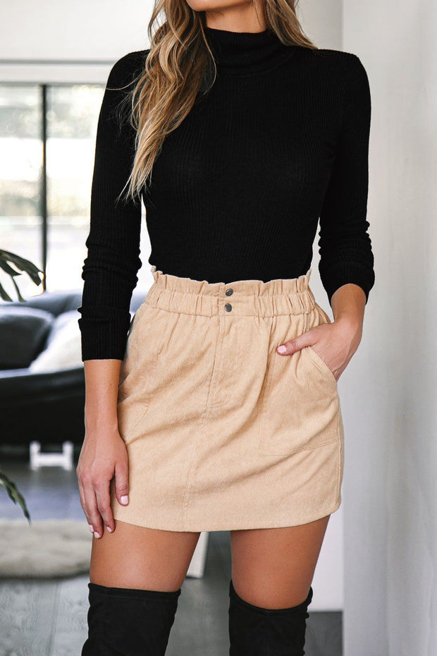 Beige Corduroy Mini Skirt
