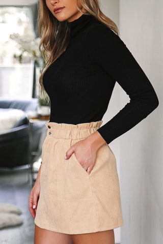 Channing Burgundy Button Skirt