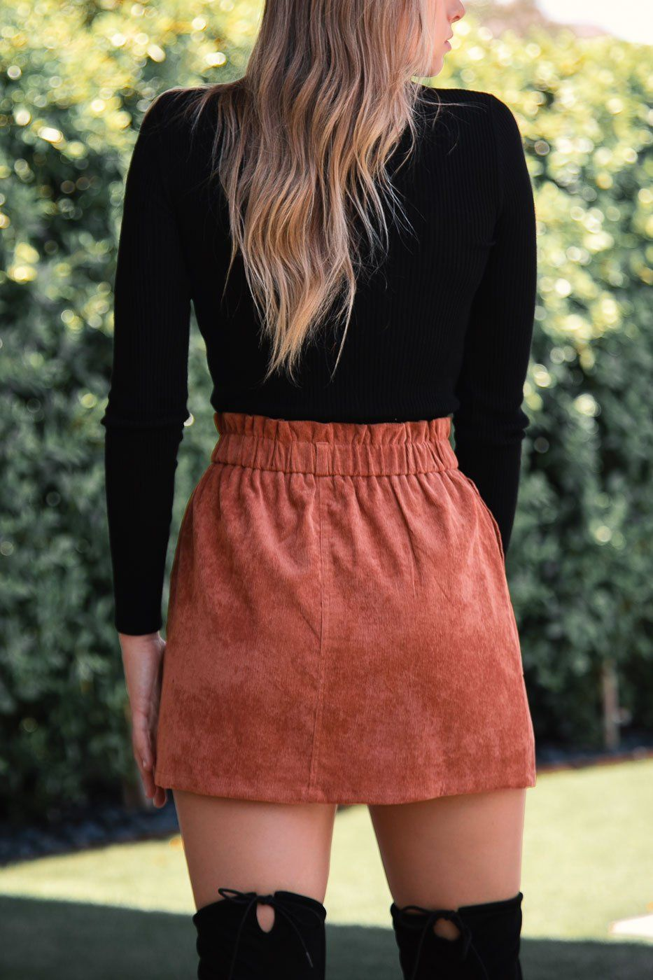 Brick Corduroy Mini Skirt