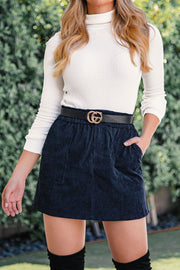Navy Corduroy Mini Skirt