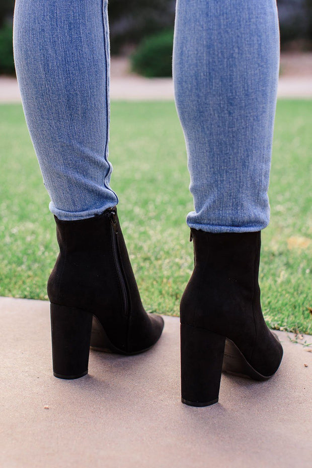 Black Vegan Suede Ankle Booties