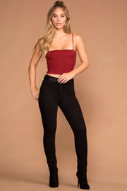 Jen Square Crop Top - Red | Shop Priceless