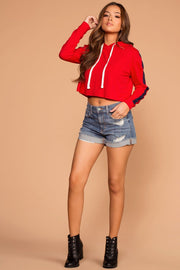Red Stripe Hoodie Crop Top