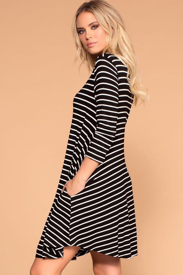 Black Striped Shift Pocket Dress