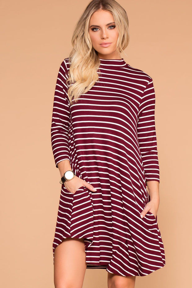 Burgundy Striped Shift Pocket Dress