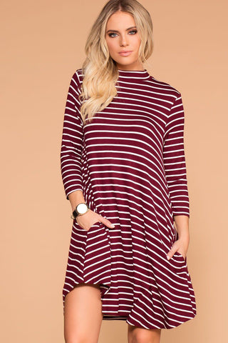 Catching Leaves Swing Pocket Dress - Burgundy