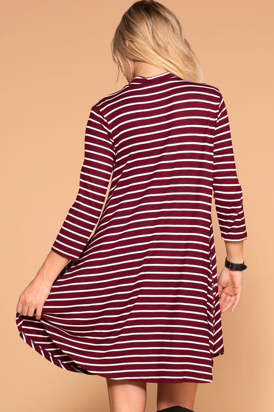 Priceless | Burgundy Striped | Shift Pocket Dress | Womens