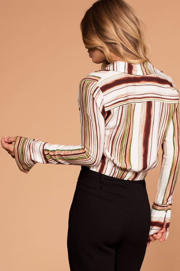 Earth Tones Striped Crop Twist Top