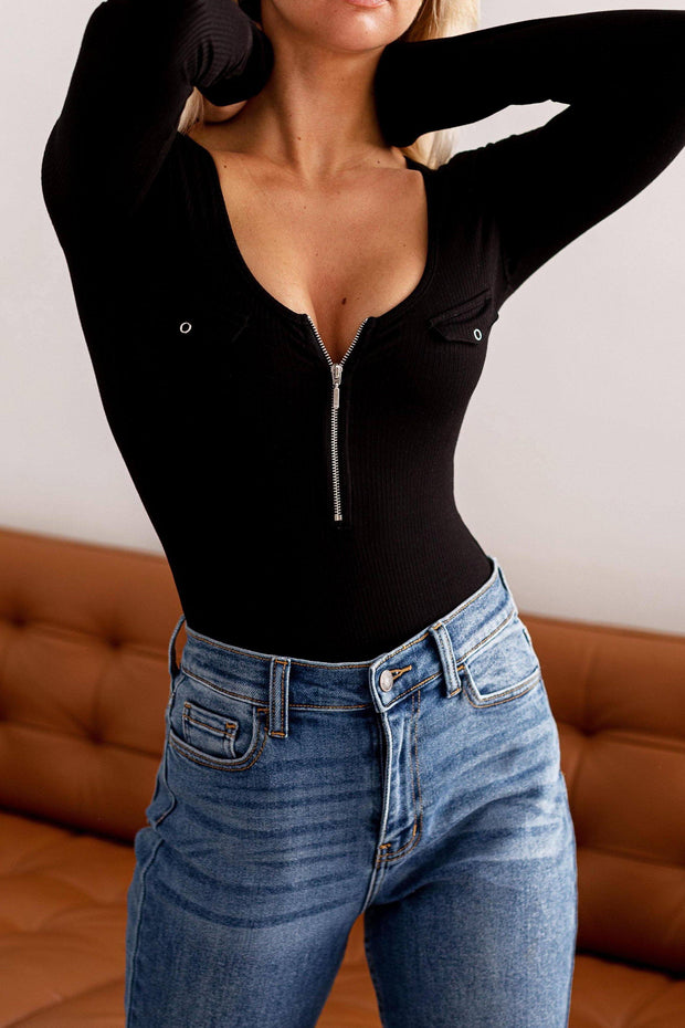 Jojo Black Zip-Up Ribbed Bodysuit