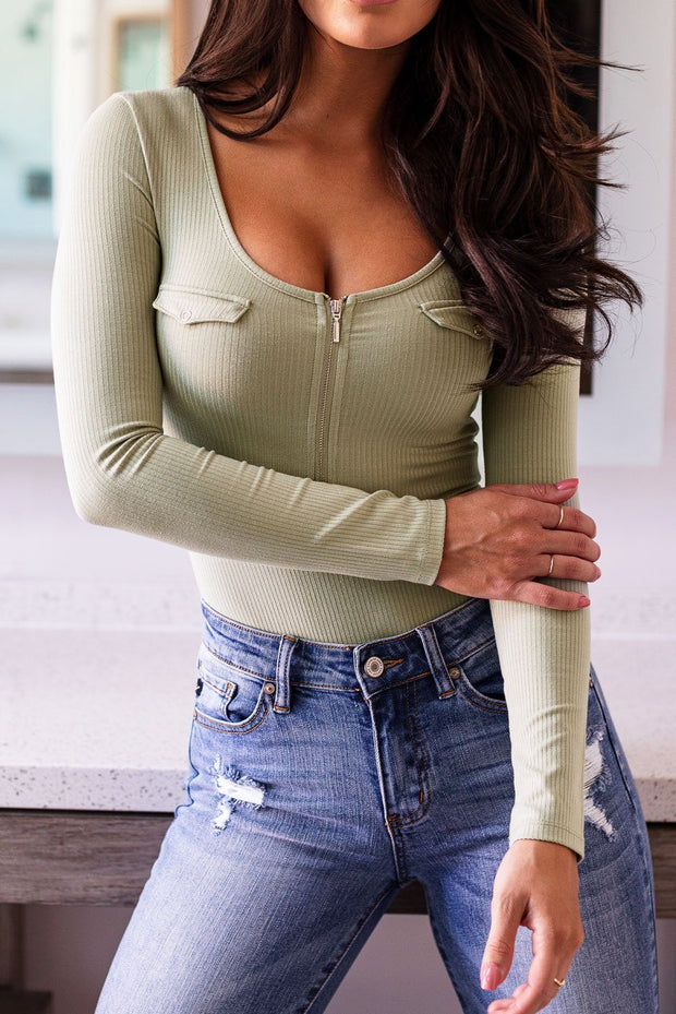 Sage Zip-Up Ribbed Bodysuit