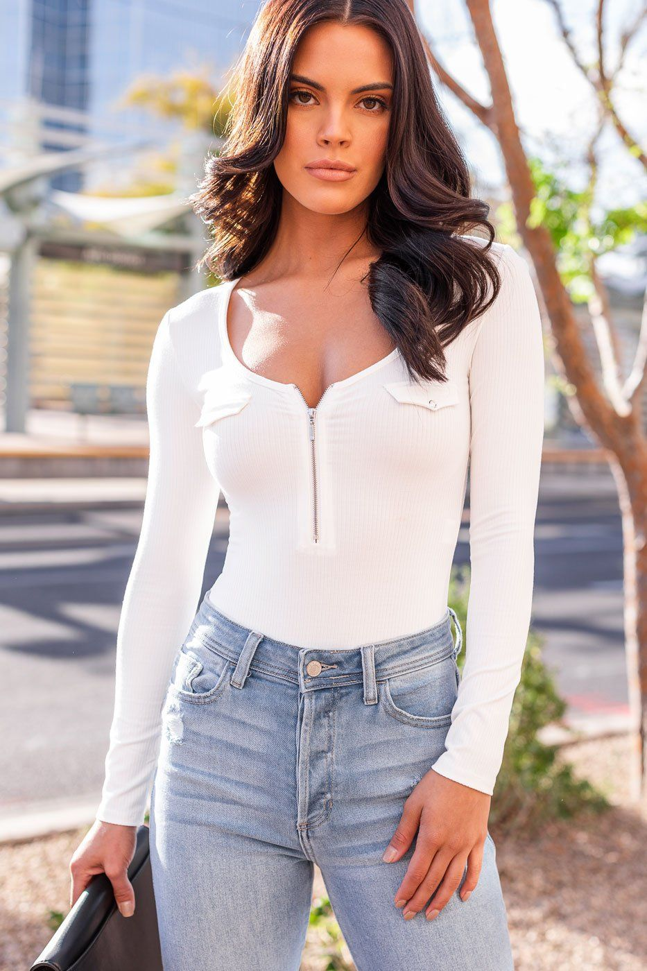 White Zip-Up Ribbed Bodysuit
