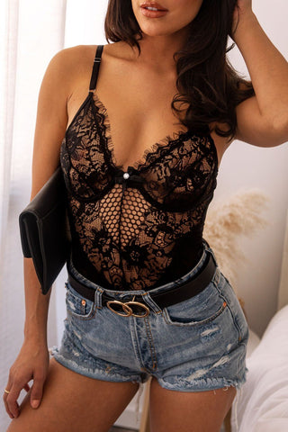 Krista Black Bodysuit
